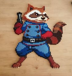 Perler Beads - Marvel's Rocket Raccoon (Guardians of the Galaxy) by Pony Bead Patterns, Pearler Bead Patterns, Perler Patterns, Beading Patterns, Perler Bead Art, Perler Beads, Geek Perler, Pixel Art Grid, Fusion Beads