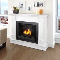 Real Flame Silverton Ventless Gel Fireplace - White - G8600-W