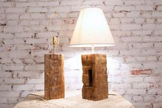 Barn Beam Lamp Pair , Rustic Country Accent Hand Hewn Handmade Wood Americana Salvage by Scot Keck Rustic Floor Lamps, Rustic Lamps, Wood Lamps, Wooden Workshops, Driftwood Lamp, Timber Beams, Old Barn Wood, Standard Lamps, Reclaimed Wood Furniture