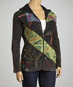 Take a look at this Green Swath Patchwork Hoodie - Plus by Rising International on #zulily today!