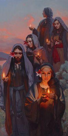 'Five Were Wise' — Michael Malm Fine Art - oil on board Lds Art, Bible Art, Bible Pictures, Bride Of Christ, Jesus Art, Prophetic Art, Biblical Art, Bible Stories, Sacred Art