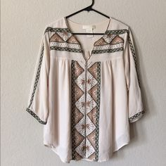 Mm Couture Boho Blouse This MM Couture Boho Blouse will have you looking like a little hippie mama! pair it with some fringe, some bells for the boho look or just a pair of jeans for your saturdaze✨     respectful offers only please MM Couture Tops Blouses