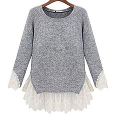 Women's++Sweet+Lace+Turtleneck+Sweater+–+USD+$+23.39