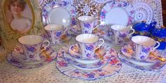 Beautiful classic Art Deco hand painted china 19 piece tea set