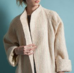 vintage 80s striped mohair coat