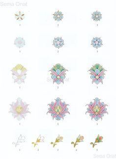 Tezhip Sanatında Çiçek Boyama Tekniği Islamic Art Pattern, Pattern Art, Arabesque, Ant Drawing, Motifs Islamiques, Islamic Tiles, Illumination Art, Turkish Art, Graphite Drawings