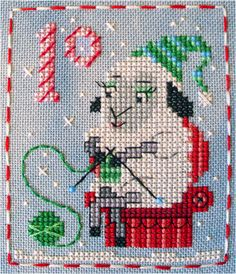It's Sheila Sheep - #10 of 25 Brooke's Books Advent Animals cross stitch freebie designs by Brooke Nolan. http://www.craftsy.com/user/1333992/pattern-store?_ct=fhevybu-ikrdql-fqjjuhdijehu