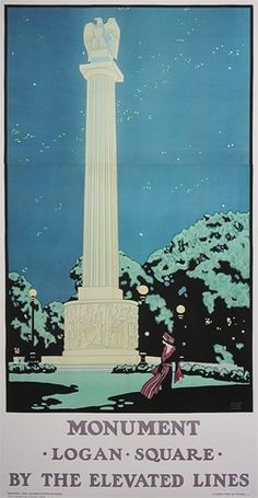 Poster Plus Products - Oscar Rabe Hanson, Monument - Logan Square by the Elevated Lines - numbered limited edition