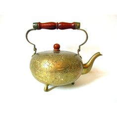 Brass Pretty Teapot Detailed Ornate Engraving, Arabic Teapot, Quality... ($38) ❤ liked on Polyvore featuring home, kitchen & dining, teapots, brass teapot, polish teapot and brass tea pot