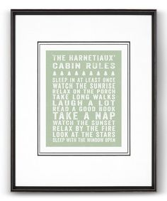 This Sage 'Cabin Rules' Personalized-Print is perfect! #zulilyfinds