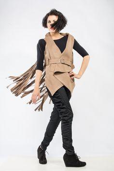 Suede Fringe Fringed #Vest Hippie Indian Inspired Clothing Modern #Fringe Vest #Bohemian Style #Boho Chic Made to order by DariaKaraseva #FringeVest