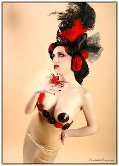 Scarlet Bliss dress, Deanna Danger Designs Pasties, Bombshell Pinups hat!