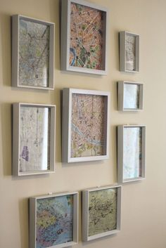 Gallery wall - framed maps from travels.