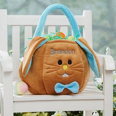 What a cute Personalized Easter Bunny Basket for boys! This site has tons of Easter Basket ideas and stuffers!