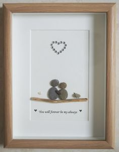 Pebble Art framed Picture - Couple - You will forever be my always This is a beautiful small Pebble Stone Pictures Pebble Art, Stone Art, Sea Glass Crafts, Sea Glass Art, Stone Crafts, Rock Crafts, Pebble Art Family, Rock And Pebbles, Driftwood Crafts