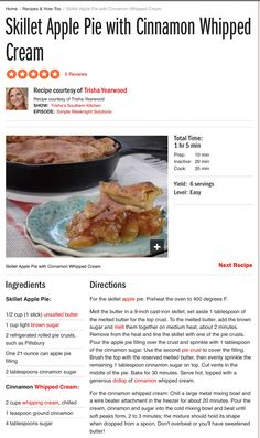 Tricia Yearwood's Skillet Apple Pie