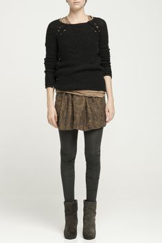 slouchy sweater, shortish skirt & gray leggings. Love this outfit!!! [from humanoid]