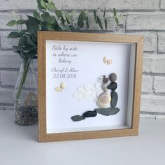 """Items similar to Handmade Framed Pebble Art """"New Baby"""" Pebble Art Baby, Pebble Picture New baby, Pebble Gifts, Framed Pebble Pictures on Etsy Unusual Wedding Gifts, Wedding Gifts For Couples, Personalized Wedding Gifts, Unique Weddings, Gift Wedding, Wedding Groom, Wedding Cards, Wedding Ideas, Wedding Picture Frames"""