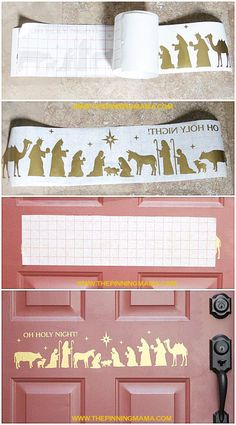 How adorable is this Nativity scene on the door!?  Love this idea! (a Silhouette & Vinyl project) All Things Christmas, Christmas Fun, Christmas Nativity, Christmas Projects, Christmas Crafts, Christmas Decorations, Silhouette Cutter, Silhouette Projects, Nativity Silhouette