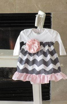 Pink and gray chevron baby dress girls baby shower by bebeculture