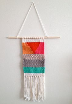 Woven tapestry wall hanging modern home by Thriftfinddesign, $28.00