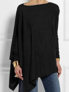 Round Neck Long Sleeve Cotton-blend Shirts & Tops For Women Casual Blouse Mode Outfits, Casual Outfits, Fashion Outfits, Casual Clothes, Summer Clothes, Casual Pants, Blusas Oversized, Mode Chic, Maxi Dress With Sleeves