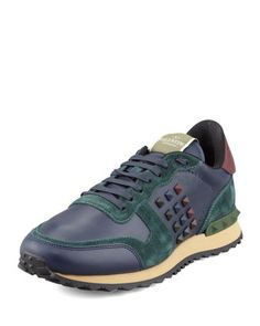 Rockstud Leather & Suede Sneaker, Blue/Green  by Valentino at Neiman Marcus.