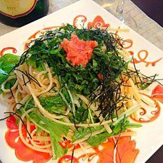 水菜も入れて緑いっぱい(^o^) - 8件のもぐもぐ - 大葉と明太子パスタ☆ by hanasui