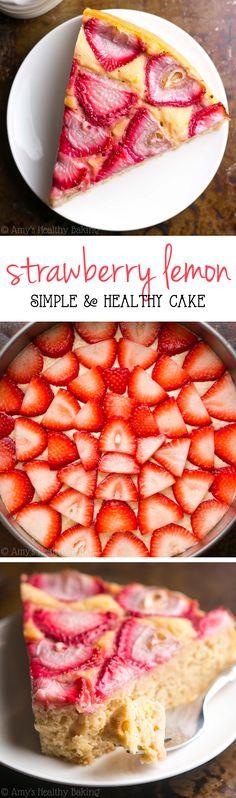 Simple Strawberry Lemon Cake -- SO easy & secretly healthy enough for breakfast! It's my all-time favorite lemon cake recipe!