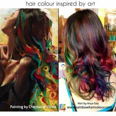 This hair colour was inspired by a painting done by artist Charmaine Olivia. Hair by Anya Goy. SUPER UNIQUE!! Not for everyone but neither is blonde! To each their own! This is gorgeous!