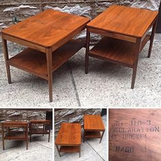 Pair of #MidCentury Drexel Declaration Walnut Side Tables. Please click link below for pricing and details.  | Rocket Century  - St. Louis, MO