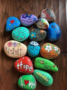 Pebble Painting, Pebble Art, Stone Painting, Rock Crafts, Metal Crafts, Inspirational Rocks, Bloom Where Youre Planted, Rock And Pebbles, Rock Painting Designs