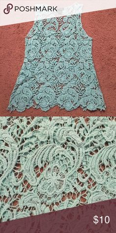 "BEAUTIFUL minty ""crochet"" top. Pair with almost any color tank or cami underneath & this will ABSOLUTELY make a statement. I think this top fits more like a medium. Body Central Tops Tank Tops"