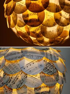 Lantern covered with sheet music... Must have this in my piano room when I get one again someday