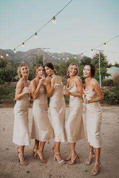 Mumu Wedding, Wedding Goals, Wedding Bridesmaids, Champagne Bridesmaid Dresses, Mumu Bridesmaid Dresses, Prom Dresses, Different Bridesmaid Dresses, Green Bridesmaids, Wedding Champagne