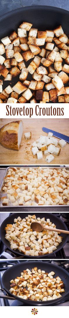 How to Make Croutons ~ Make your own homemade croutons, on the stovetop, toasted in butter. It's easy! ~ SimplyRecipes.com