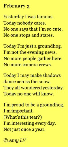 The Poem Farm: Groundhog Day Poem - The Day After - This poem is from The Poem Farm, Amy Ludwig VanDerwater's ad-free, searchable site full of hundreds of poems, poem mini lessons, and poetry ideas for home and classroom - www.poemfarm.amylv.com