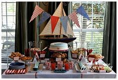 American-themed baby shower ideas... AND there's a sailboat... I'm in love.