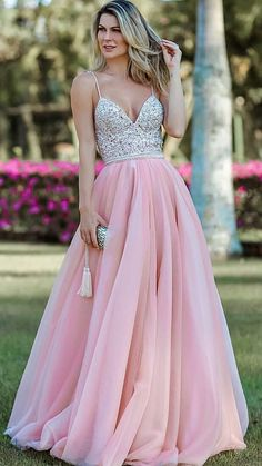 Prom Dress For Teens, 2019 Spaghetti Straps Prom Dresses Beaded Bodice Tulle Floor Length Open Back, cheap prom dresses, beautiful dresses for prom. Best prom gowns online to make you the spotlight for special occasions. Straps Prom Dresses, Pink Prom Dresses, Backless Prom Dresses, A Line Prom Dresses, Tulle Prom Dress, Cheap Prom Dresses, Prom Gowns, Dance Dresses, Party Dresses