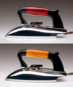 """1950s era American Beauty Irons! Did you know that their translucent amber and ruby Lucite handle irons were so beautifully designed that they were once featured in an exhibit titled """"Masterpieces of American Design"""" held at the Baltimore Museum of Art? They were made of chrome-plated steel  featuring an opaque plastic handle in either ruby or amber."""