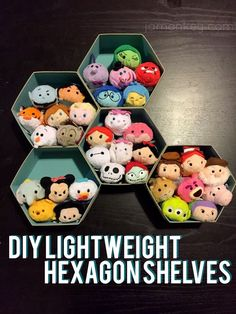 I've recently taken up collecting Disney Tsum Tsums and I needed a way to keep them off the floor so that my dog didn't try to eat them. Because they are so little, they fit nicely into these pentagon shaped boxes, easily mounted on your wall, and form a Casa Disney, Disney Rooms, Disney Diy, Disney Crafts, Disney Playroom, Disney Theme, Tsum Tsum Display Ideas, Diy And Crafts, Crafts For Kids