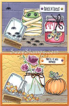Stampin' Up! Cards - 2016-10 Class - Jar of Love, Jar of Haunts and Hardwood stamp sets, Brick Wall or Petal Burst Embossing Folder and Everyday Jars Framelits Dies