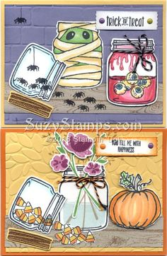 Stampin' Up! Cards - 2016-10 Class - Jar of Love, Jar of Haunts and Hardwood stamp sets, Brick Wall or Petal Burst Embossing Folder and Everyday Jars Framelits Dies