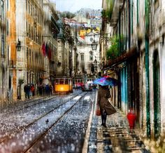 Walking in the rain... Lisbon by Edward Gordeev