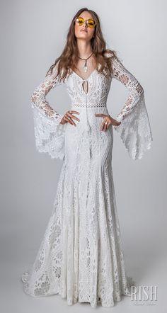 """Alma"" Rish bridal sun dance 2018. long bell sleeves v neck full embellishment bohemian modified a  line wedding dress open v back short train."