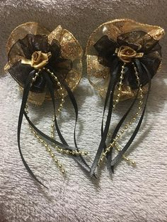 Items similar to 2 Handmade Gold Hair Bows, Tail Streamers on Etsy Gold Hair Bow, Handmade Hair Bows, Streamers, Gold Beads, Black Satin, Gold Glitter, Chiffon, Brooch, Heavenly
