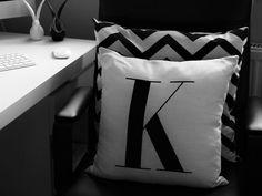Monochrome initial cushion, black and white, chevron, monogram.