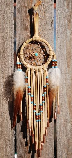 3 Inch Golden Deerhide Dreamcatcher Turquoise and Copper #luvocracy #design