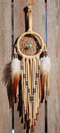 3 Inch Golden Deerhide Dreamcatcher Turquoise and Copper #luvocracy #design