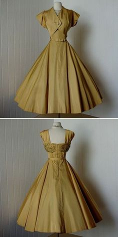 vintage: 1950s dress with bolero-not so sure I could wear this color, but I love the style.